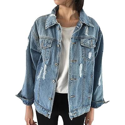 JUDYBRIDAL Oversize Denim Jacket for Women Ripped Jean Jacket Boyfriend Long Sleeve Coat at Women's Coats Shop