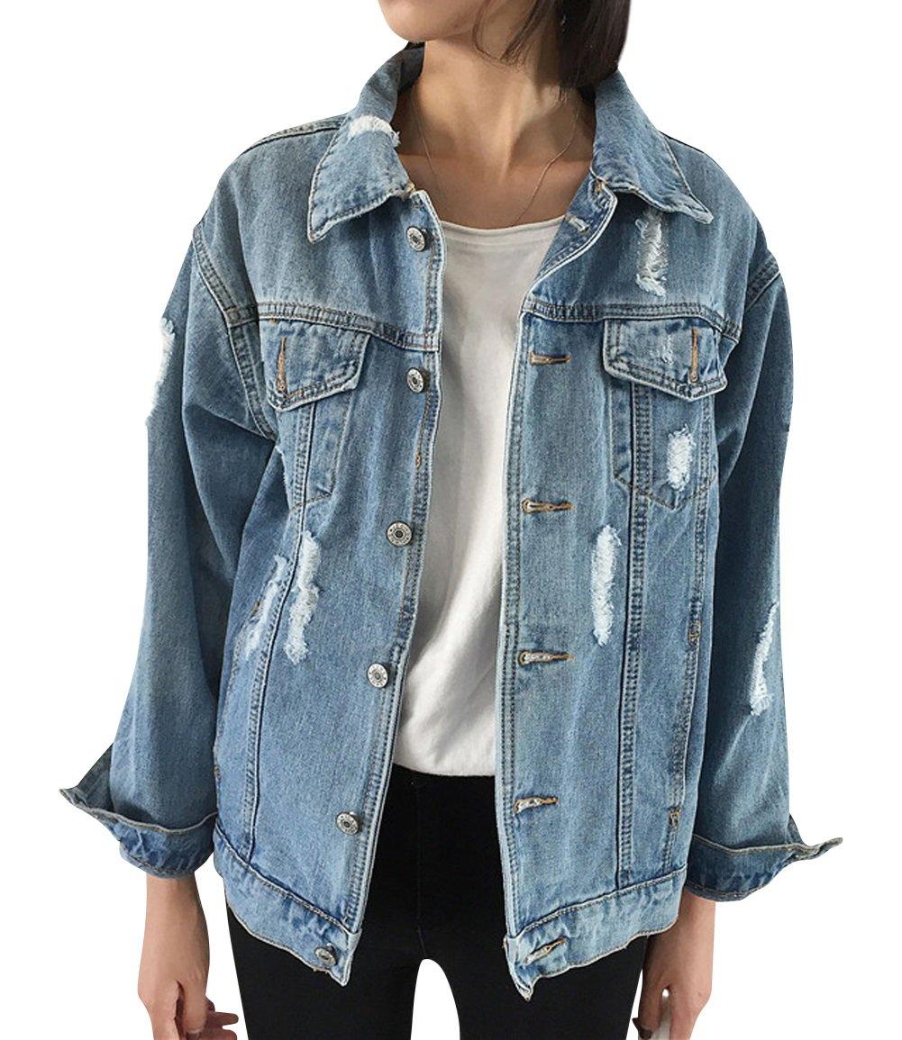 JUDYBRIDAL Oversize Denim Jacket for Women Ripped Jean Jacket Boyfriend Long Sleeve Coat Blue M by JUDYBRIDAL