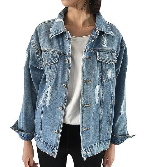 fd938ed2a JUDYBRIDAL Oversize Denim Jacket for Women Ripped Jean Jacket Boyfriend  Long Sleeve Coat