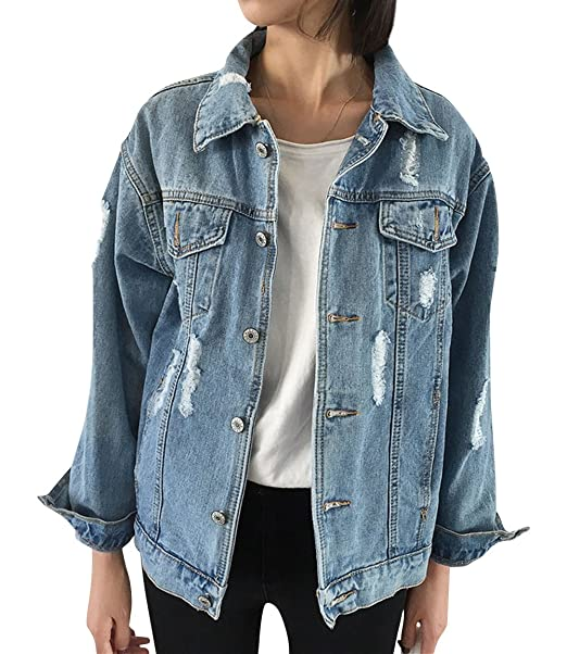 cost charm purchase cheap great deals on fashion JUDYBRIDAL Oversize Denim Jacket for Women Ripped Jean Jacket Boyfriend  Long Sleeve Coat