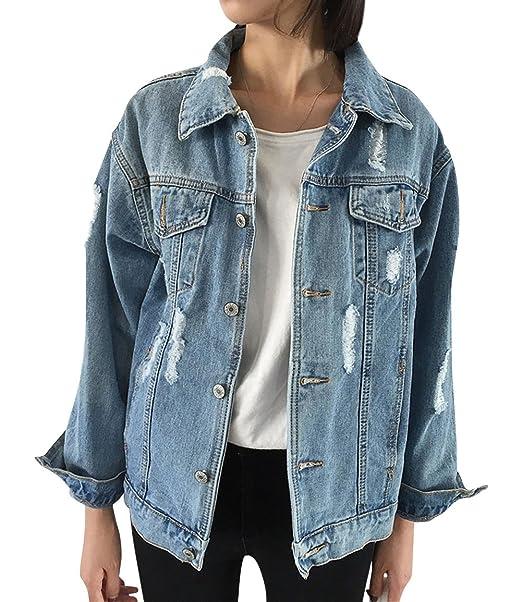baby yet not vulgar fashion style of 2019 JUDYBRIDAL Oversize Denim Jacket for Women Ripped Jean Jacket Boyfriend  Long Sleeve Coat