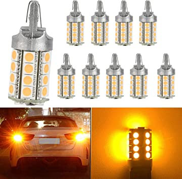 DEAL 2pcs 7440 Super Bright Yellow//Amber DC 12V 30-SMD LED Bulbs For Front Rear Turn Signal//Side Marker//Backup//Reverse//Stop//Brake Tail Light Lamp Single Filament
