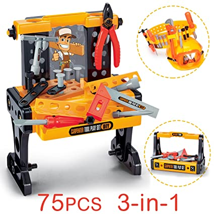 Brilliant Exercise N Play 75Pcs Workbench Kids Tool Sets Workshop Construction Box Kits Realistic Childrens Educational Play Best Tool Kit Bench For 0 5 5 Cjindustries Chair Design For Home Cjindustriesco