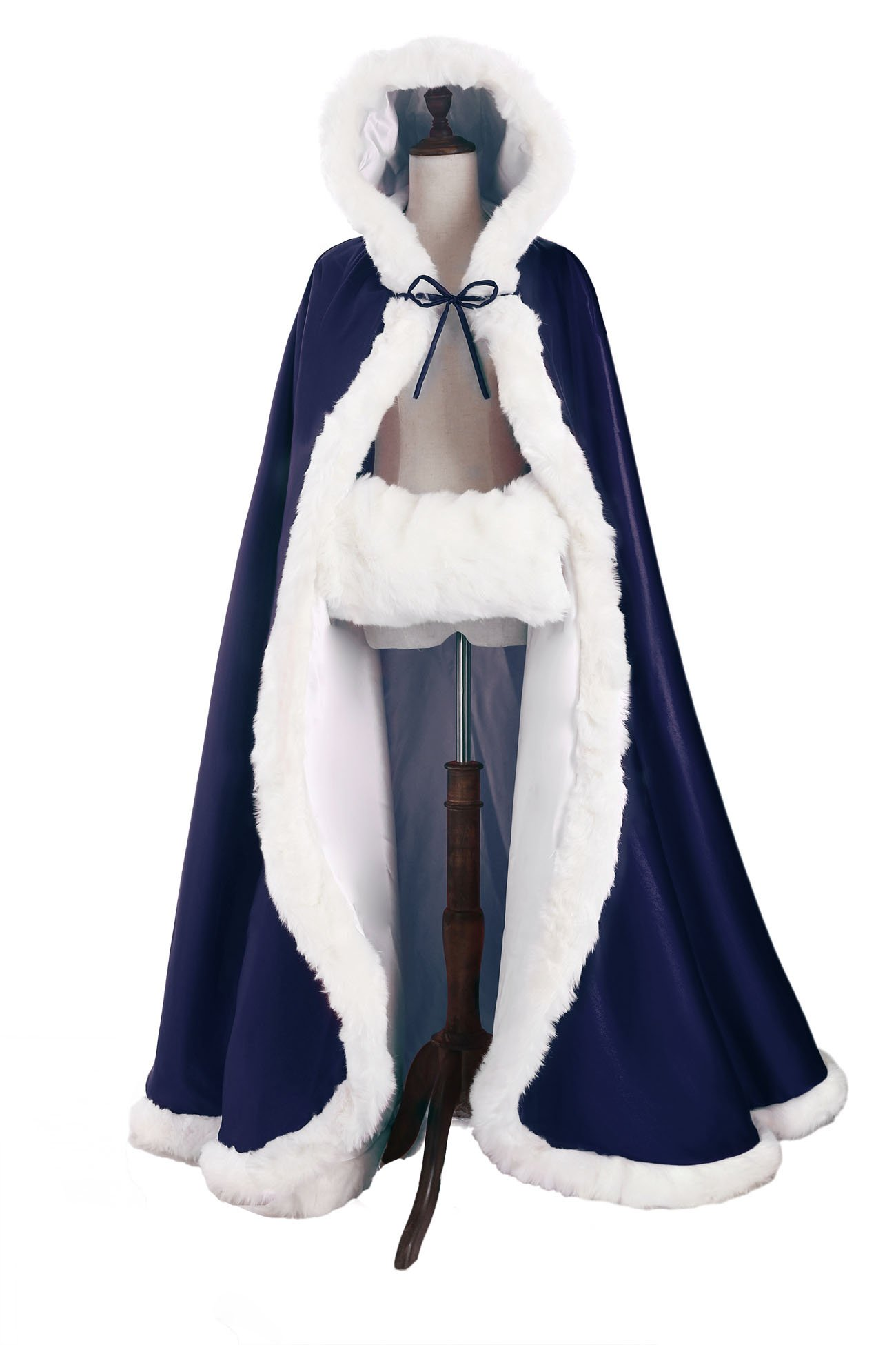 Wedding Cape Hooded Cloak for Bride Winter Reversible with Fur Trim Free Hand Muff Full Length 50''
