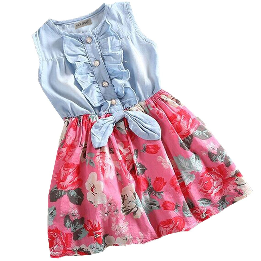 FCYOSO Little Girls Denim Floral Print Sleeveless Skirt Dresses