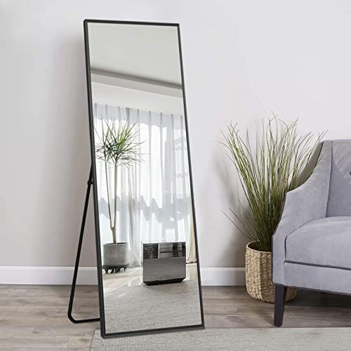 Agnese CEEL Full Length Large Rectangle Mirror Full Body Mirror Wall Mirror Aluminum Alloy Free Standing Wall Mount Horizontally and Vertically Dressing Room Bedroom 65″X22″ Black