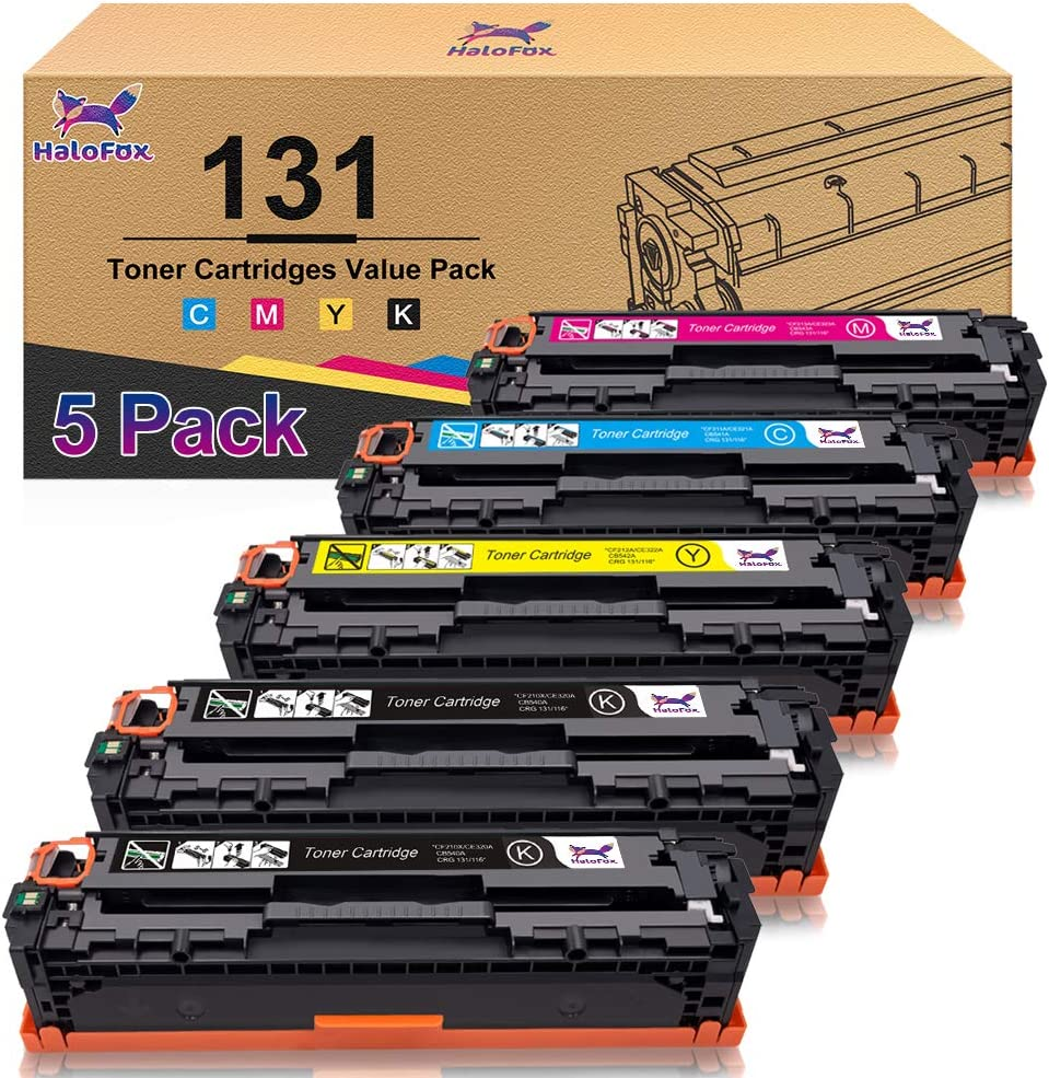 HaloFox Compatible Toner Cartridge Replacement for Canon 131 imageClass MF624Cw MF628Cw MF8230Cn MF8280Cw LBP7100Cn for HP 131A 131X (Black, Cyan, Yellow, Magenta, 5-Pack)