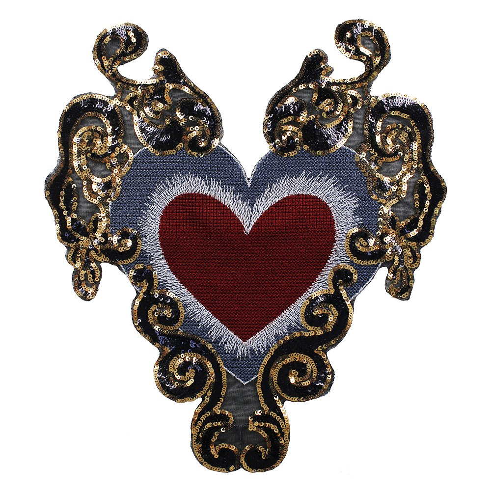 1PIECE rilievo oro paillette paillette cuore modello patch applique distintivi vestiti decorato Craft cucito Sunbe shine