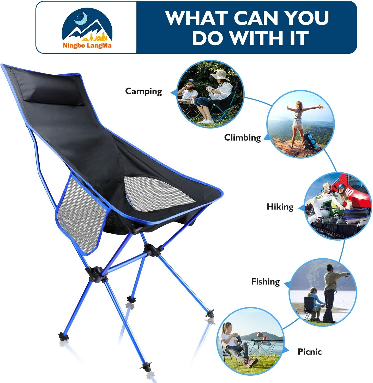 Ningbo LangMa Portable Folding Camping Chair Lightweight High Back Camp Chair with Cup Holder and Carry Bag 276lb Capacity for Outdoor Beach Lawn Fishing Travel Hiking Sports Garden Blue