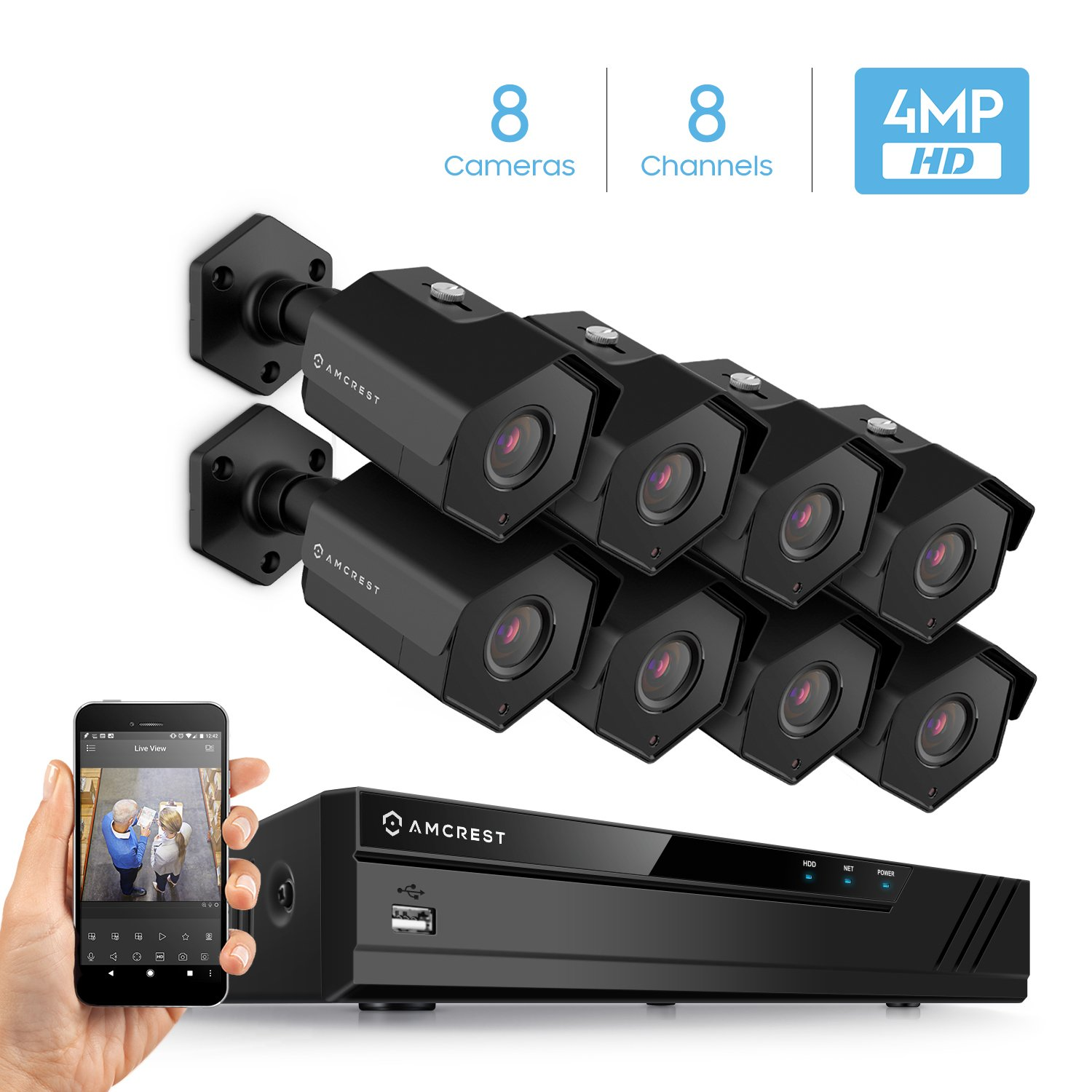Amcrest 4MP Security Camera System, w 4K 8CH PoE NVR, 8 x 4-Megapixel 3.6mm Wide Angle Lens Weatherproof Metal Bullet POE IP Cameras, NV4108E-HS-IP4M-1026EB8 Black