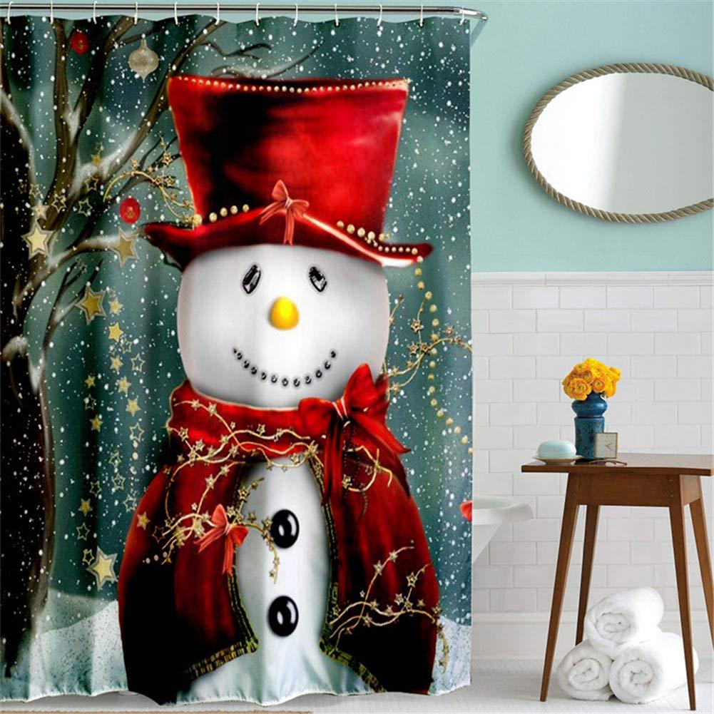 Myonly Christmas Shower Curtain Waterproof Bathroom Decor Custom Xmas Merry Santa Claus Holiday Sets With