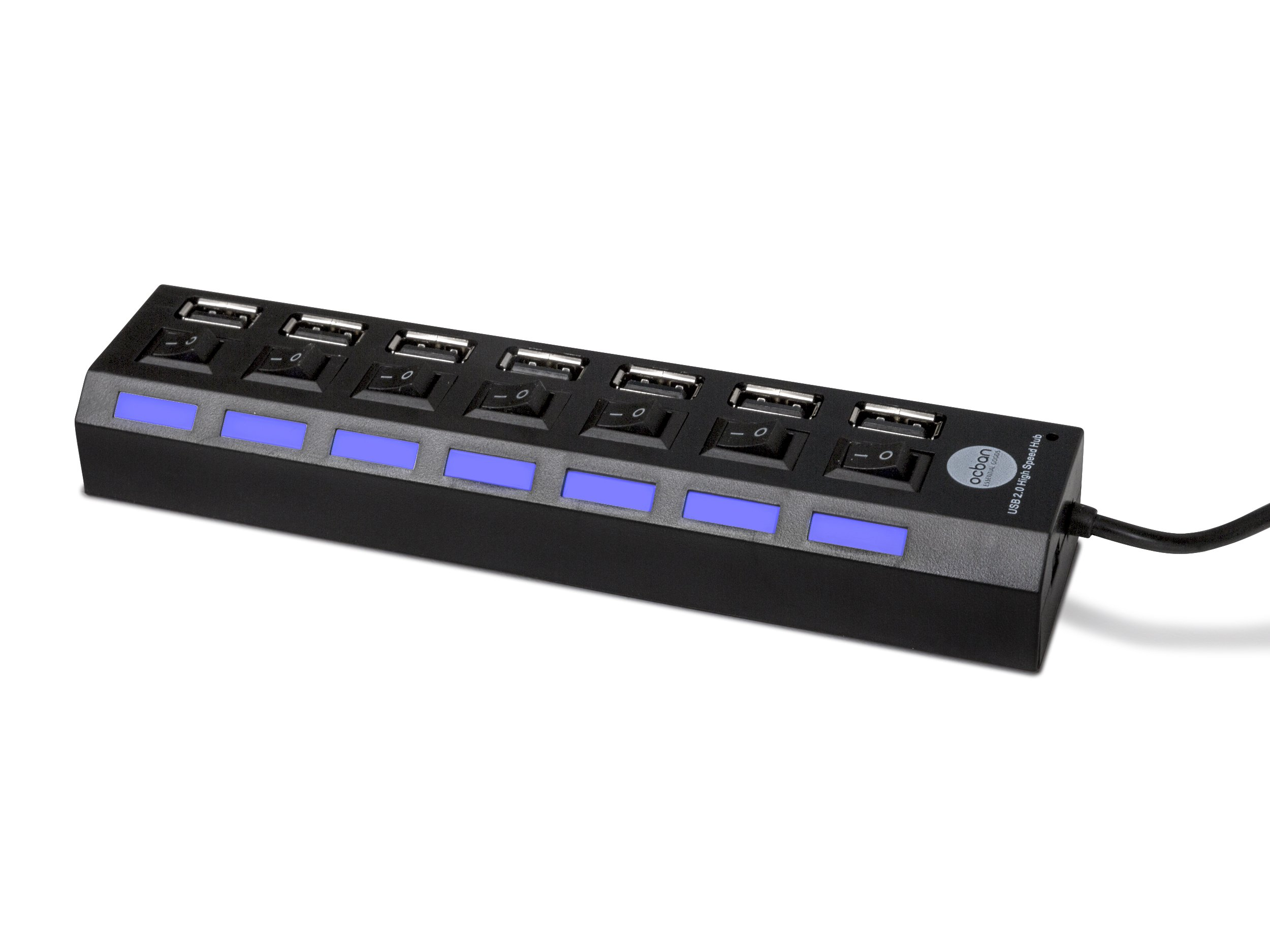 7 Port USB 2.0 Hub with Individual Power Switches and LEDs On Off Switch Design Slim Compact Lightweight Fast Communication For PC Linux Mac Windows Smarts Tvs Accessory Travel Great Price OCBAN by Ocban (Image #2)