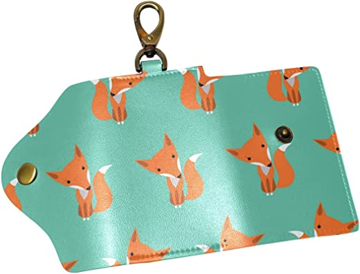 KEAKIA Fox Happy Birthday Leather Key Case Wallets Tri-fold Key Holder Keychains with 6 Hooks 2 Slot Snap Closure for Men Women