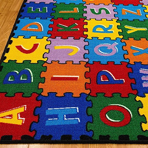 CR Kids / Baby Room / Daycare / Classroom / Playroom Area Rug ABC PUZZLE (A-Z AND 1-9) Educational Fun Play Mat Bright Colorful Vibrant Colors (8 Feet X 10 Feet) by Champion Rugs (Image #2)