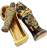 EGYPTIAN KING TUTANKHAMUN PHARAOH SARCOPHAGUS W/ MUMMY SCULPTURE FIGURINE