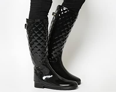 Hunter Refined Quilted Tall Welly Black Gloss  8 UK