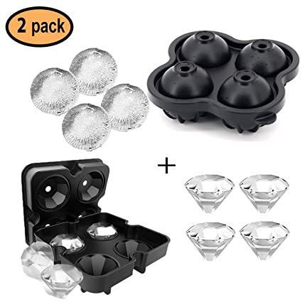Vogek Sphere Ice Cube Mold Ball Maker with Lid Silicone BPA Fee Mould for Whiskey Cocktail Water and Drinks Ice Cube Tray 2 Packs
