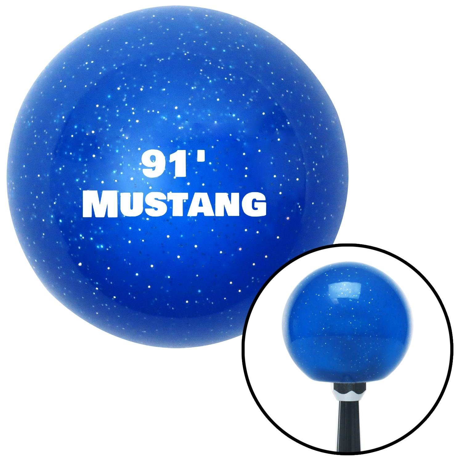 American Shifter 139780 Blue Metal Flake Shift Knob with M16 x 1.5 Insert White 91 Mustang