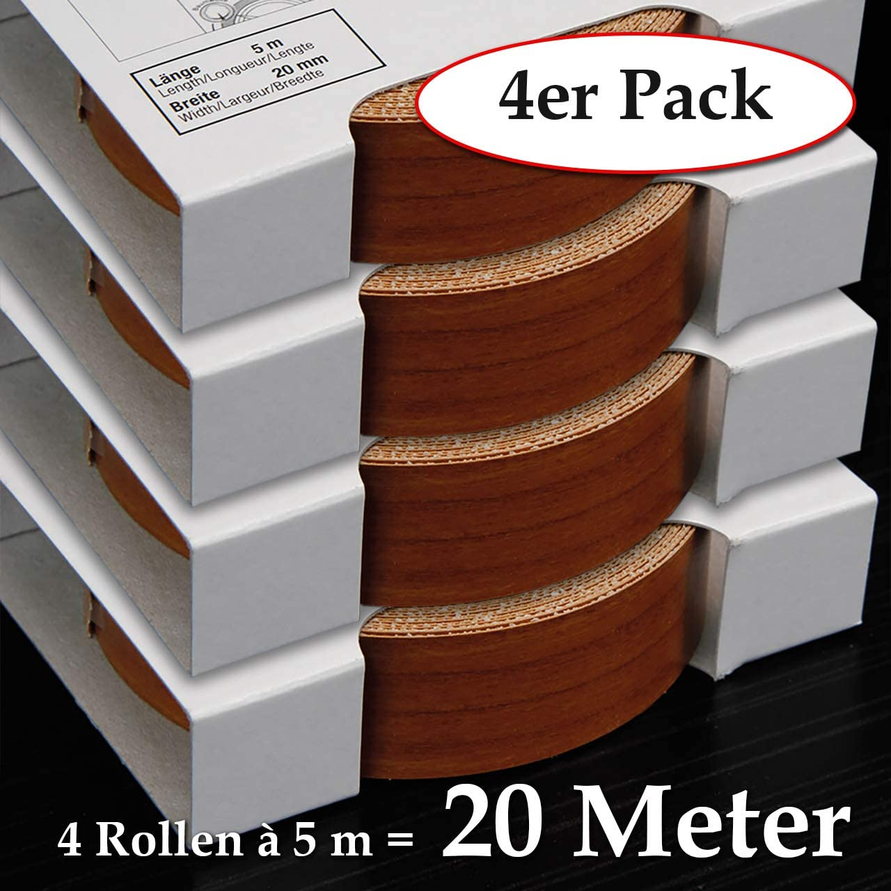 Schmelzkleber f/ür Regalb/öden 2 Rollen = 10 Meter Kantenumleimer inkl 2-er Pack Melaminkantenumleimer in Kirschbaum hell 20 mm x 5 m Rolle Umleimer in Holzoptik glatt und strukturlos