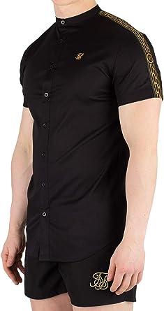 Sik Silk de los Hombres Camisa de Cuello Abuelito de Manga Corta Cartel, Negro