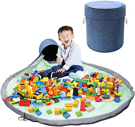 Large Indoor Room Play Mat for Kids PYFK Toy Storage Bag Gray Toy Organization and Storage Container Storage Basket Box with Drawstring