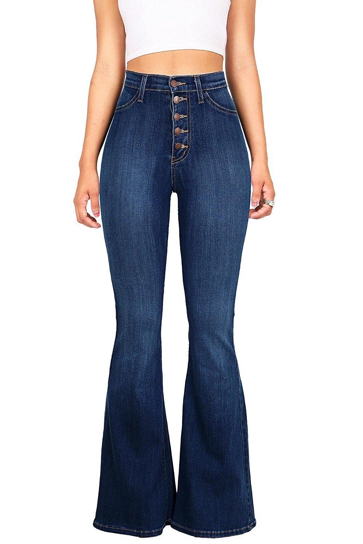 Women High Waist Bell Bottom Jeans Vintage Juniors Stretch Fitted Flare Denim Pants (Dark Blue, L)