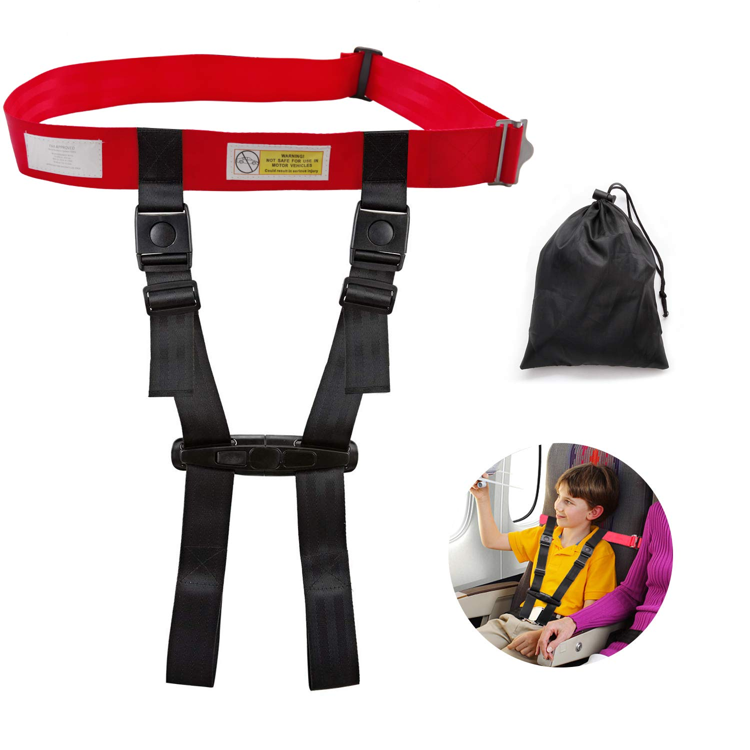 Child Airplane Safety Travel Harness, FAA Approved Clip Strap Safety Airplane Child Restraint System for Baby,Toddlers & Kids - Airplane Travel Accessories for Aviation Travel Use