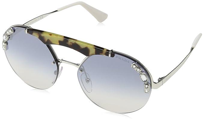 Prada 0PR52US 23C5R0 37 Gafas de Sol, Plateado Medium Havana/Light Blue Silver, Mujer