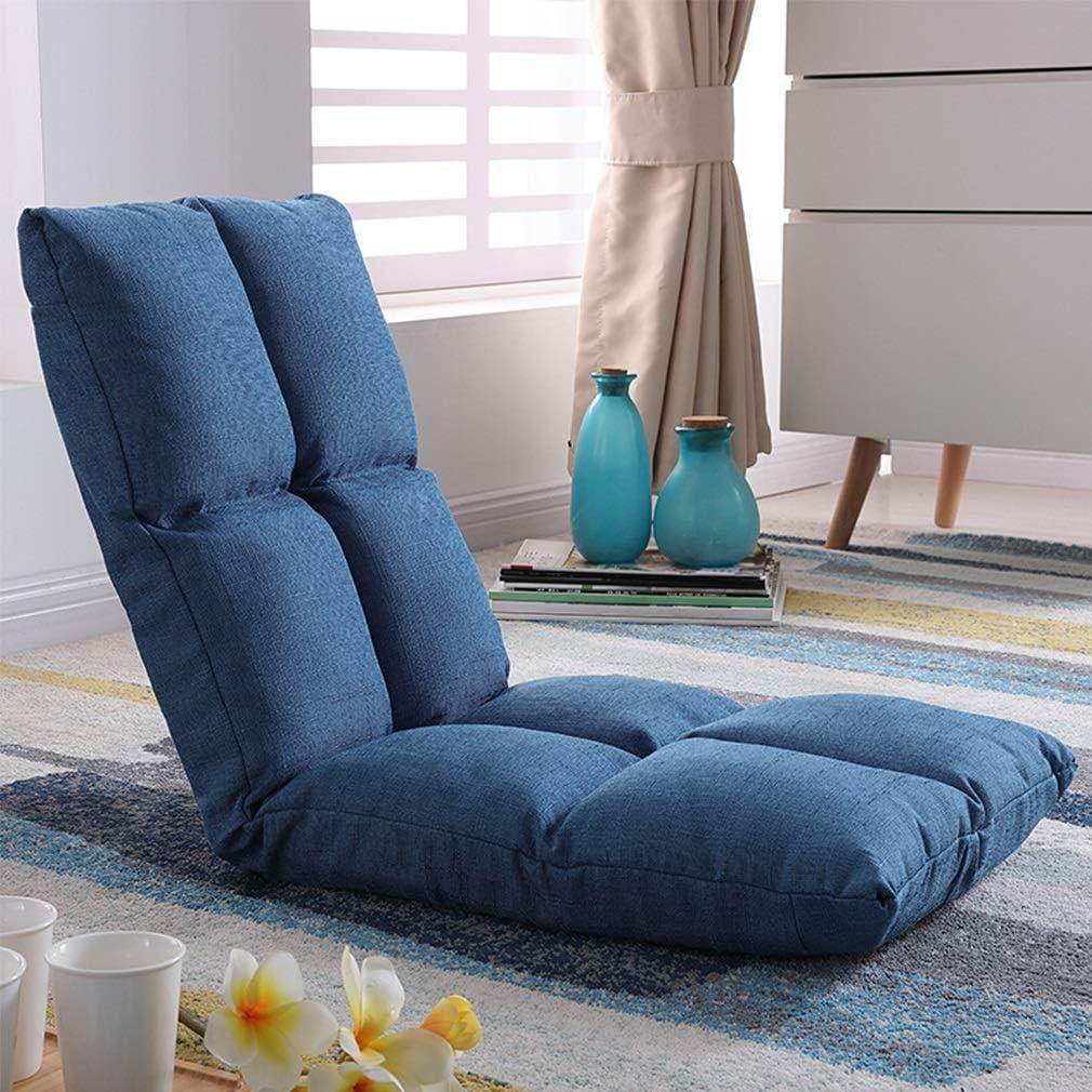 Sill/ón de Piso Lazy Lounge Sofa con Bolsa de Almacenamiento Lateral Plegable con apoyabrazos Sill/ón de Piso de meditaci/ón Sill/ón removible y Lavable Amarillo