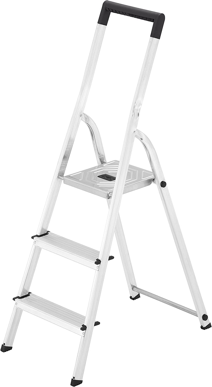 Hailo L40 BasicLine - Escalera de Aluminio con 3 peldaños, EasyClix, Color Plateado, Aluminio, Plata, 3 Stufen: Amazon.es: Hogar