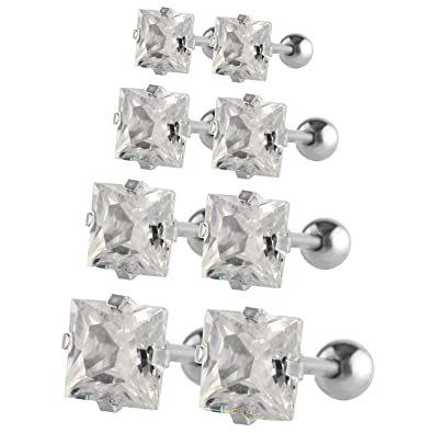 Square 5mm Silver 316l Stainless Steel Cubic Zirconia Earrings