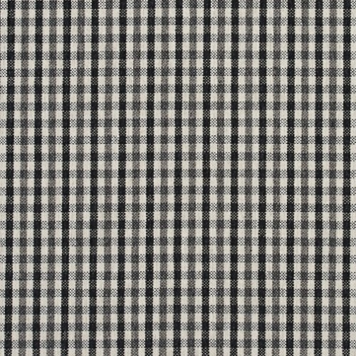 E815 Black and White Small Scale Check Jacquard Upholstery Fabric by The Yard