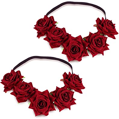 WILLBOND 2 Pieces Rose Flower Crown Mexican
