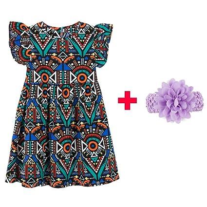 99f9ada5dcbb3 Ankola Girl's Summer Dress,Baby Girls Princess Ruffle Floral Sleeveless  Princess Dress Up Costume Spring