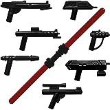 Set de armas GALAXYARMS de 10 piezas: Set 2 con diversos blásteres y espada doble roja. Ideal para tu ejército de minifiguras LEGO. ¡NOVEDAD!