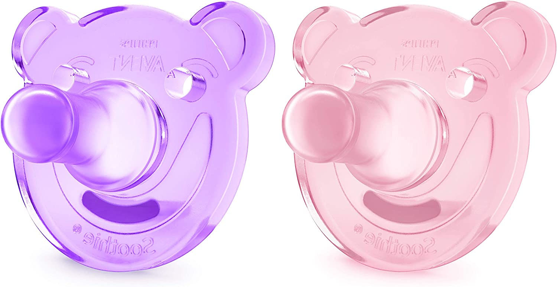 Philips Avent Soothie - Pack de 2 Chupetes calmantes de silicona médica, sin BPA, 3 meses, niña, color morado y rosa