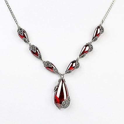 varios colores ccef8 aadb7 ZMLSXU Colgante de moda collar de rubí cadena de cuello de ...
