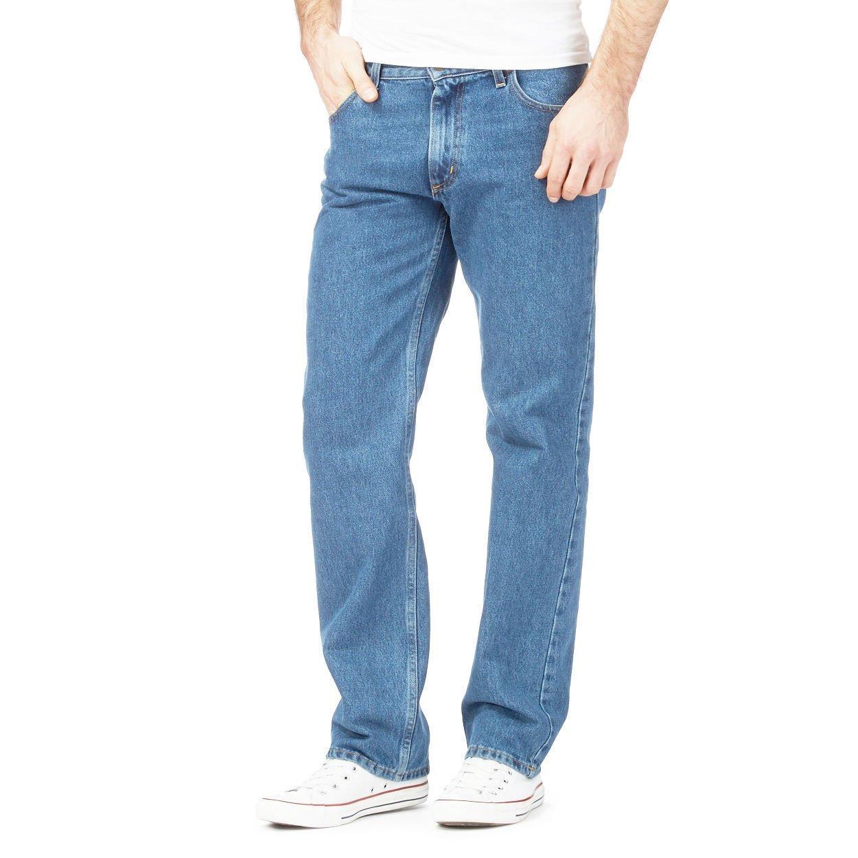 Eshopping Warehouse Mens Denim Jeans Plain Fited Straight Leg Black Blue Denim Jeans All Waist Sizes