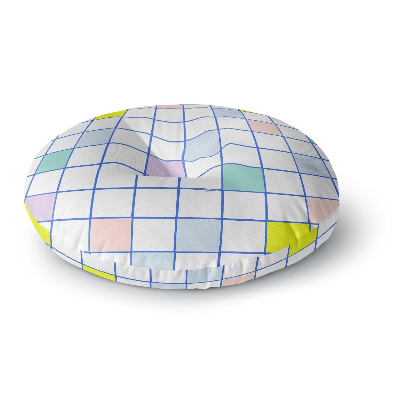KESS InHouse Vasare Nar Pastel Windowpane Grid Multicolor White Round Floor Pillow