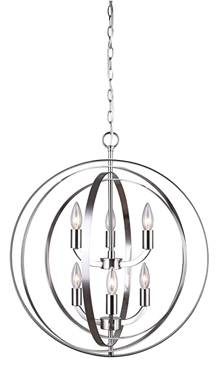 Amazon.com: Canarm Meridian 6 Light Chain Chandelier - Brushed ...