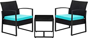 SONGMICS 3-Piece Patio Set Outdoor Patio Furniture Sets, PE Rattan, Outdoor Seating for Bistro Front Porch Balcony, Easy to Assemble, 2 Chairs and 1 Table,Black and Lake Blue UGGF010Q01