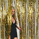 Let the Holiday Celebrations begin with Decorations! Start your Holiday Celebration off with a bang! Metallic Gold Foil Fringe Curtains 3 Feet X 8 Feet Pkg/1.It measures: (3) ft. by (8) ft.