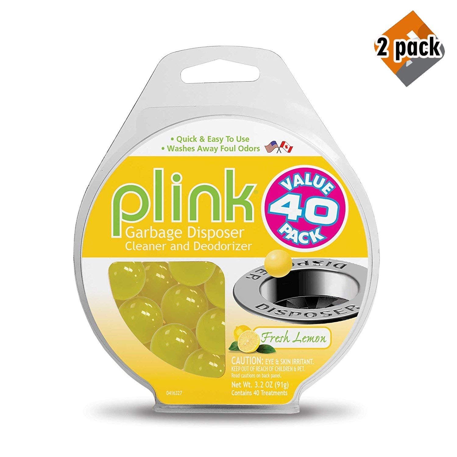 Plink 40-Pack Lemon-Scented Garbage Disposal Cleaner and Deodorizer | Includes 40 treatments |Made in USA, 2 Pack by Plink