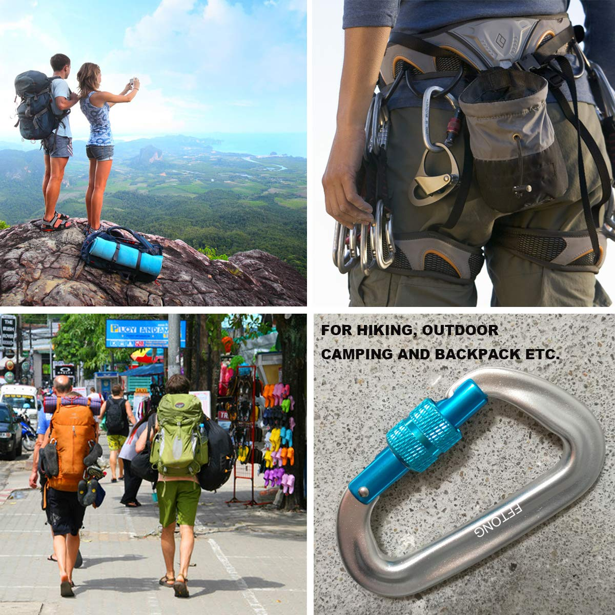 Backpacking Camping Hiking Keychain FTON Locking Carabiners 12KN//2697lbs Aerospace Aluminum Alloy 7075 D Ring Screw Locking Carabiner Clips for Hammock Dog Leash /& Harness etc.