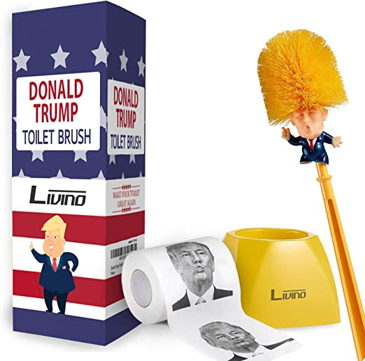President Donald Trump Toilet Brush Base Toilet Brushes Bowl Funny Gag Gift US