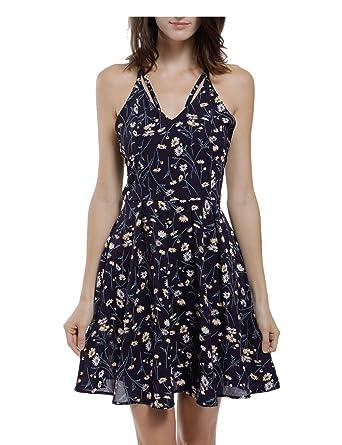 7d95ff8130a BMJL Women s Dress Backless Strappy Halter Neck V Neck Sleeveless Chiffon  Floral Print Ladies Flowy Party