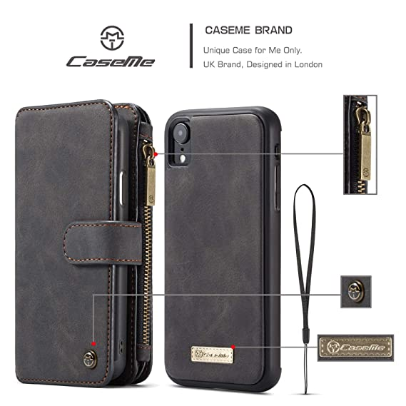 130897797 Image Unavailable. Image not available for. Color: iPhone XR Case, Caseme  007 2 in 1 Split Multi-Slot Wallet Real Leather