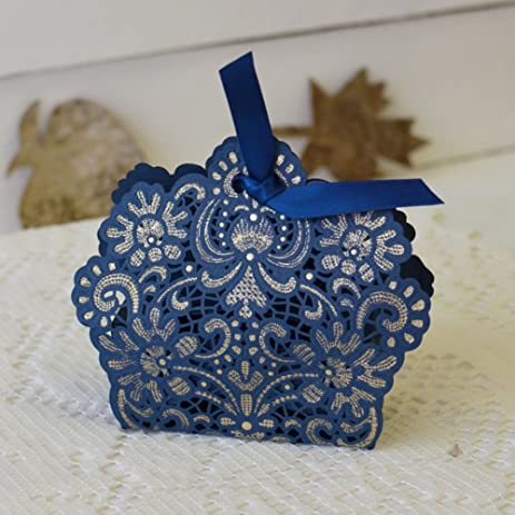 50 ct navy blue laser cut favor boxes candy gift box nautical wedding bridal shower