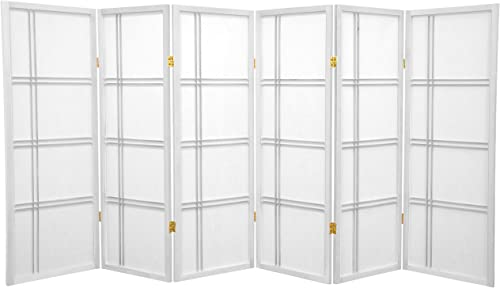 Oriental Furniture 4 ft. Tall Double Cross Shoji Screen – White – 6 Panels