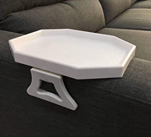 Sofa Arm Clip Table, Armrest Tray Table, Drinks/Remote Control/Snacks Holder (WHITE) …